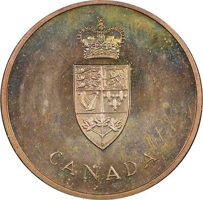1967 Canada Confederation Medal, .925 Sterling Silver, Ch Bu Gorgeous Toning