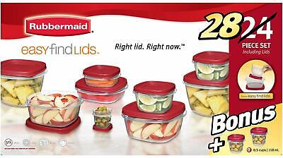 RUBBERMAID 40 PIECE EASY FIND RED LID CONTAINERS SET 199 NEW