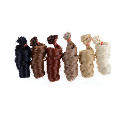15cm Curly Doll Wigs High Temperature Heat Resistant Doll Hair  Diy Wig ^TPI