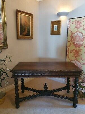 Antique Oak French Desk Victorian Renaissance Gothic Revival Library Table