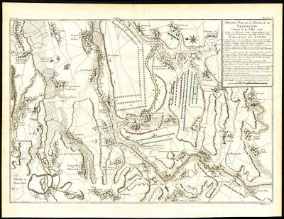 Antique Map-BATTLE-BELGIUM-TIENEN-TIRLEMONT-NEERWINDEN-Pl. 16-Beaurain-1776