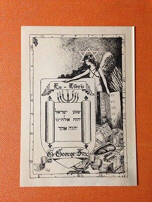 bookplate Ex Libris George Fox, Judaica Jewish