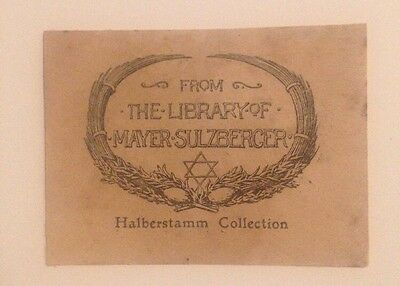 Ex Libris Mayer Sulzberger - Judaica Bookplate