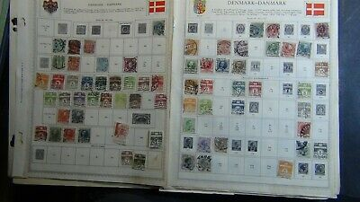 Denmark stamp collection on various pages w/ 1,300 or so stamps