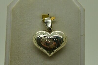 Sterling Silver Fancy Heart Shape W/Etched Floral Designs Pendant#Fmg475