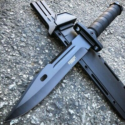 "13.5"" Military Black Tactical Survival FIXED BLADE HUNTING Machete KNIFE Dagger"