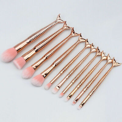 Makeup Brush Set Rose Gold Mermaid Makeup Brushes Set Of 10 Make Up Brushes