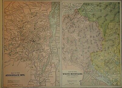 Vintage 1896 ADIRONDACK & WHITE MOUNTAINS MAP Old Antique Original & Authentic