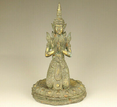 Asian tibetan old bronze hand carved buddha statue collect blessing Big Deco