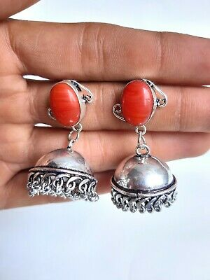 Agate Stone Jhumka Earring German Silver Brass Tribal Ethnic Gypsy Jewelry Gift