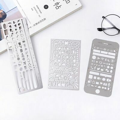 Metal Ruler Stainless Steel School Supply Stationery 1pc Hollow Stencil Template