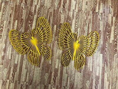 Pair Large Vintage Butterfly Wall Hangings Yellow Plastic 1970's