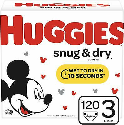 Huggies Snug & Dry Baby Diapers, Size 3 (fits 16-28 lb.), 120 Count, Giga Jr Pac