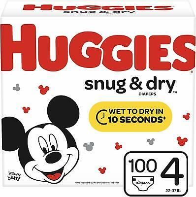 Huggies Snug & Dry Baby Diapers, Size 4 (fits 22-37 lb.), 100 Count, Giga Jr Pac