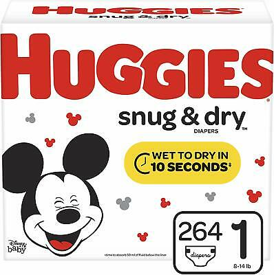 Huggies Snug & Dry Baby Diapers, Size 1 (fits 8-14 lb.), 264 Count, ONE MONTH SU