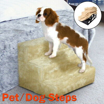 Soft Cat Dog 3-Steps Ramp Couch Bed Small Climb Pet Step Stairs Black White