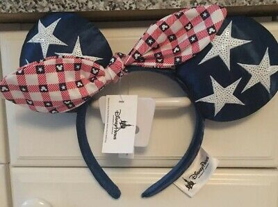 Disney Parks Minnie Mouse Ears All American Girl Brand New One Size Fits All