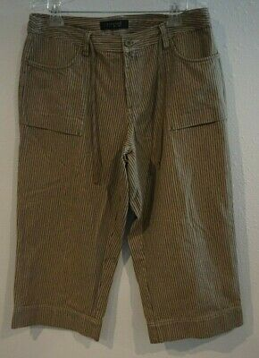 Riveted by Lee Striped Capri Crop Pants Womens Sz 14 Olive Green Loose Fit