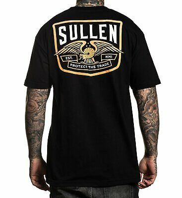 Sullen Pin Up Punk Street Bike Gothic Americana Tattoo Art Mens Tee NEIL BADGE