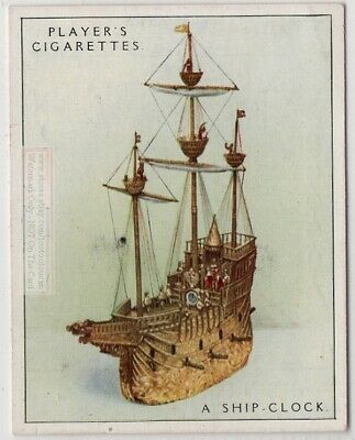 "1581 ""Nef' Mechanical Brass Galleon Ship Clock 1920s Ad Trade Card"