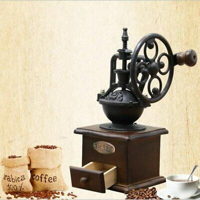 Manual Coffee Grinder Antique Cast Iron Hand Crank Mill Tings and Catch Drawer