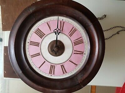 Antique Postman's Timepiece Wall Clock Circa 1860-70 weight driven