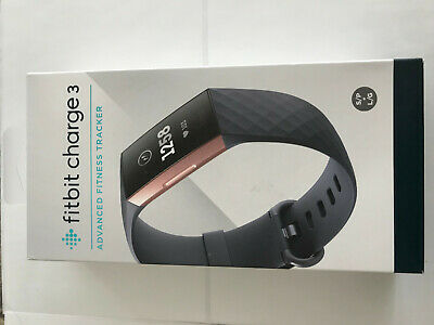 Fitbit Charge 3 Fitness Activity Tracker Rose Gold Blue Grey SMALL