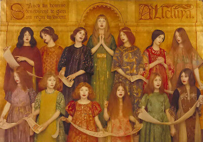Oil painting thomas cooper gotch - Alleluia beautiful young girls singing canvas