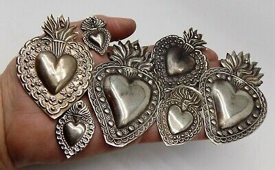 ANTIQUE LOT OLD 7 Sacred Heart Jesus Ex Voto MIRACLE MILAGRO SILVERED B-29