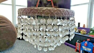 """ANTIQUE CRYSTALS CHANDELIER 8""""W x 5.5""""H 3 TIERS 2 LIGHTS NEEDS REWIRING CLEAR CR"""