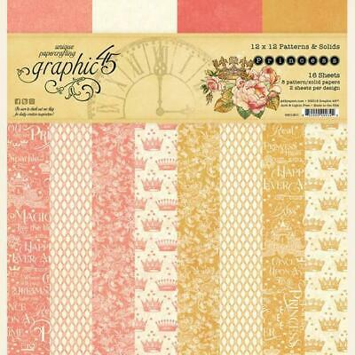 """Graphic 45 Princess 12"""" Patterns & Solids Paper Pad  16pg, Double Sided"""