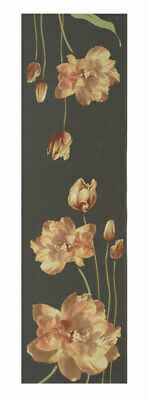 An Armful of Yellow Tulips Grey Table Runner Jacquard Woven European Tapestry