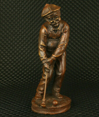 rare Asian bronze handwork old man play golf statue figure noble home decoration