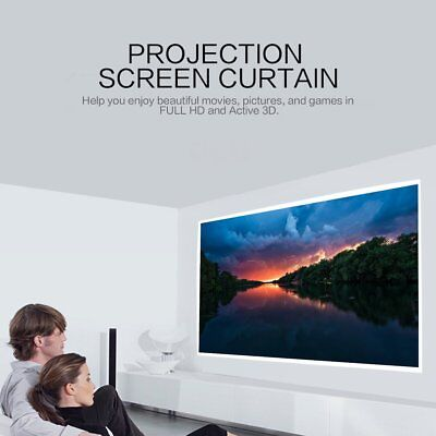 "40""/50""/60""/72""/ Projector Projection Screen 16:9 Home Cinema Theater White US"