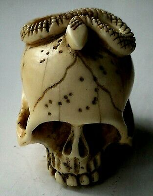 Antique 19th Century SKULL & SNAKE Finely Carved Japanese Netsuke Signed