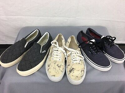 Used LOT 3 Vans Pair Shoes Low Top Slip On Lace Up Mens 7 Womens 8.5 Gray Blue
