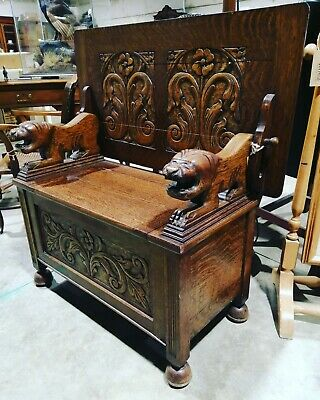 Antique Carved Oak Box Settle Monks Bench Hall Seat with tiger arm rests