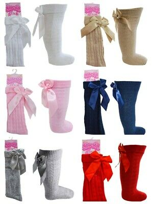 Baby Girls Infant Knee Length Spanish Traditional Ribbon Bow Socks  0M-6YRS