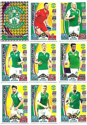 Mint Hibs Hibernian 2017 / 18 Spfl Match Attax Football Trade Cards Team Set.