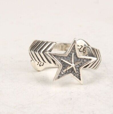 Genuine China 925 Silver Real Silver Solid Silver Handcarved Pentagram Ring Gift