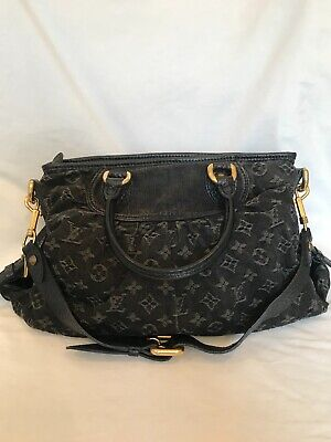 Authentic Louis Vuitton Monogram Black Denim Neo Cabby Shoulder Bag
