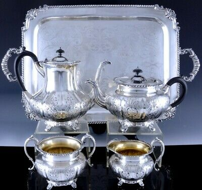 FINE ANTIQUE BIRKS DEEPLY ETCHED SILVER PLATE TEA & COFFEE SERVICE wSERVING TRAY