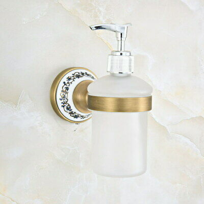 Antique Brass Wall Mounted Glass Soap Dispensers Bathroom Accessory fba814