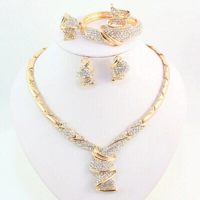 New Fashion Trend Jewelry Set Of Necklace Bracelet Ring And Earrings For Ladies