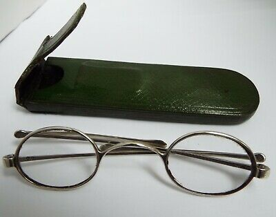 Fine Pair English Antique Victorian 1839 Sterling Silver Spectacles In Orig Case