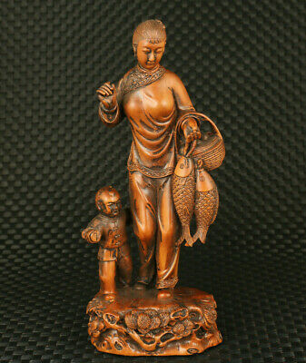 rare chinese old boxwood hand carved fisherwoman good harvest statue ornament