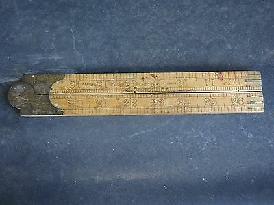 Ruler-Folding-Timber& Brass 36 Inch-Rabone-No.1380-Made In England-Vintage