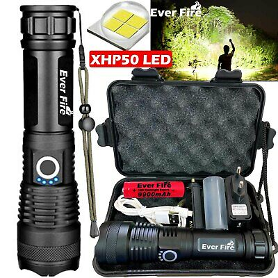 XHP50 900000Lumens Zoomable Flashlight LED USB Rechargeable Torch Headlamp Camp