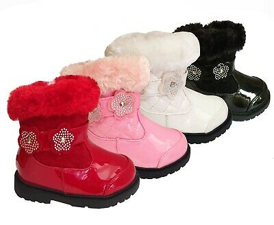 Infants Girls Patent Kids Winter Grip Zip Warm School Boots Sizes