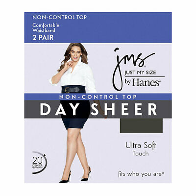 New Women's 2 Pairs JMS Just My Size Non Control Top Off  Black Pantyhose  4X